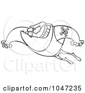 Cartoon Black And White Outline Design Of A Leaping Wrestler