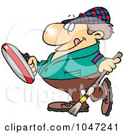 Royalty Free RF Clip Art Illustration Of A Cartoon Man Curling