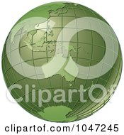 Royalty Free RF Clip Art Illustration Of A Green Grid Globe Featuring Australia