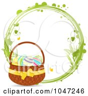 Royalty Free RF Clip Art Illustration Of A Green Grungy Ring With An Easter Basket by elaineitalia