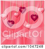 Royalty Free RF Clip Art Illustration Of Pink Sparkly And Shiny Heart Pendants Over A Silk Background