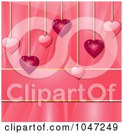 Royalty Free RF Clip Art Illustration Of Pink Heart Pendants Over A Silk Background With Copyspace