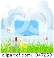 Royalty Free RF Clip Art Illustration Of Butterflies Over Easter Eggs And A Blank Sign In Grass by elaineitalia