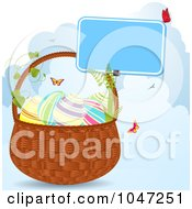 Royalty Free RF Clip Art Illustration Of Butterflies Around An Easter Basket With Clouds by elaineitalia