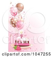Royalty Free RF Clip Art Illustration Of A Slice Of Birthday Cake With Pink Frosting And Balloons On Pink by Pushkin