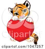 Royalty Free RF Clip Art Illustration Of A Cute Tiger With A Valentine Heart