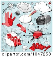 Royalty Free RF Clip Art Illustration Of A Digital Collage Of Red Comic Sounds And Icons Over Blue