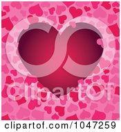 Royalty Free RF Clip Art Illustration Of A Dark Pink Heart On A Heart Pattern Background