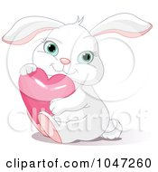Royalty Free RF Clip Art Illustration Of A Cute Bunny Hugging A Pink Heart