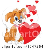 Royalty Free RF Clip Art Illustration Of A Cute Puppy Dog With Valentine Hearts by Pushkin