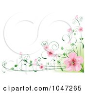 Royalty Free RF Clip Art Illustration Of A Border Of Pink Cherry Blossoms On A Vine Over Green And White by Pushkin
