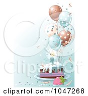 Royalty Free RF Clip Art Illustration Of A Slice Of Birthday Cake With Blue Frosting And Balloons On Blue by Pushkin