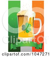 Royalty Free RF Clip Art Illustration Of A Shamrock St Patricks Day Background With A Beer And Blank Banner Over An Irish Flag