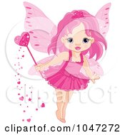 Royalty Free RF Clip Art Illustration Of A Tiny Pink Love Fairy With A Magic Wand by Pushkin #COLLC1047272-0093