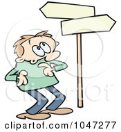 Toon Guy Looking Up At Directional Signs