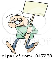 Royalty Free RF Clip Art Illustration Of A Toon Guy Doing A Sign Demonstration