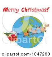 Royalty Free RF Clip Art Illustration Of Santa In Flight With His Reindeer And Sleigh Under Merry Christmas by Hit Toon