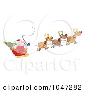 Royalty Free RF Clip Art Illustration Of Santa In Flight With His Reindeer And Sleigh