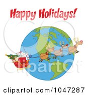 Royalty Free RF Clip Art Illustration Of Santa In Flight With His Reindeer And Sleigh Under Happy Holidays by Hit Toon