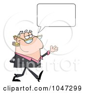 Royalty Free RF Clip Art Illustration Of A Businessman Gesturing And Smoking A Cigar With A Speech Bubble