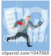 Royalty Free RF Clip Art Illustration Of A Businessman Running Through A City With A Briefcase And Tablet 2