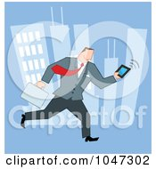 Royalty Free RF Clip Art Illustration Of A Businessman Running Through A City With A Briefcase And Tablet 1
