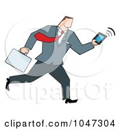 Royalty Free RF Clip Art Illustration Of A Businessman Running With A Briefcase And Tablet 3