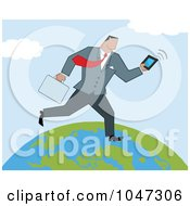 Businessman Running On A Globe With A Briefcase And Tablet 2