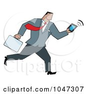 Royalty Free RF Clip Art Illustration Of A Businessman Running With A Briefcase And Tablet 5