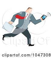 Royalty Free RF Clip Art Illustration Of A Businessman Running With A Briefcase And Tablet 4