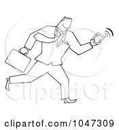 Royalty Free RF Clip Art Illustration Of A Businessman Running With A Briefcase And Tablet 1