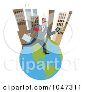 Businessman Running On An Urban Globe With A Briefcase And Tablet 2