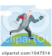 Royalty Free RF Clip Art Illustration Of A Businessman Running On A Globe With A Briefcase And Tablet 1