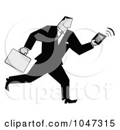 Businessman Running With A Briefcase And Tablet 2