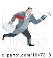 Royalty Free RF Clip Art Illustration Of A Businessman Running With A Briefcase And Tablet 6