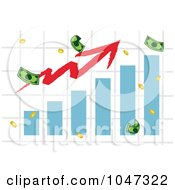 Royalty Free RF Clip Art Illustration Of A Bar Graph With An Increase Arrow And Money by Hit Toon