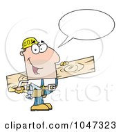 Royalty Free RF Clip Art Illustration Of A Friendly Carpenter Carrying Wood And Talking by Hit Toon