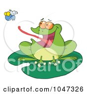 Royalty Free RF Clip Art Illustration Of A Frog On A Lilypad Catching A Fly by Hit Toon
