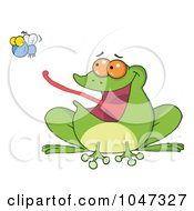 Royalty Free RF Clip Art Illustration Of A Frog Catching A Fly by Hit Toon
