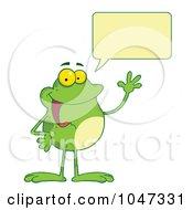 Royalty Free RF Clip Art Illustration Of A Waving And Talking Frog
