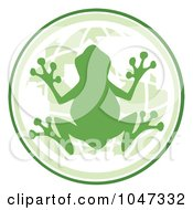 Royalty Free RF Clip Art Illustration Of A Green Frog On A Globe Logo by Hit Toon