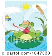 Royalty Free RF Clip Art Illustration Of A Frog Catching A Fly On A Pond by Hit Toon