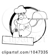 Royalty Free RF Clip Art Illustration Of An Outlined Frog Waiter Logo With Copyspace by Hit Toon