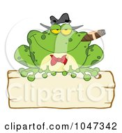 Royalty Free RF Clip Art Illustration Of A Frog Smoking A Cigar On A Wood Sigh