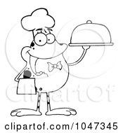 Royalty Free RF Clip Art Illustration Of An Outline Of A Waiter Frog Holding A Platter by Hit Toon