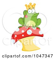 Royalty Free RF Clip Art Illustration Of A Frog Prince Sitting On A Mushroom by Hit Toon