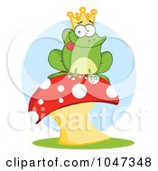 Royalty Free RF Clip Art Illustration Of A Frog Prince Sitting On A Mushroom Over Blue by Hit Toon