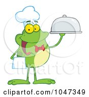 Royalty Free RF Clip Art Illustration Of A Waiter Frog Holding A Platter by Hit Toon