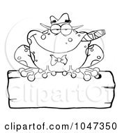 Royalty Free RF Clip Art Illustration Of An Outlined Frog Smoking A Cigar On A Wood Sigh