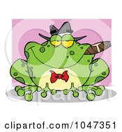Royalty Free RF Clip Art Illustration Of A Frog Smoking A Cigar Over Pink